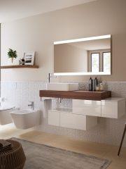 Мебелите Connect Air на Ideal Standard са със скосени предни панели за лесно отваряне и чекмеджета с плавно затваряне. Предлагат се в шест покрития: от минималистичен бял гланц до съвременно матирано кафяво, от елегантен сив гланц до светлосиво дърво. От Ideal Standard.