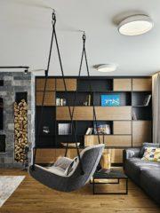 Диваните, креслото, люлката са от добри италиански марки (Sofia Design District ), а корпусната мебел е изработена от българската фирма Еster SPS.