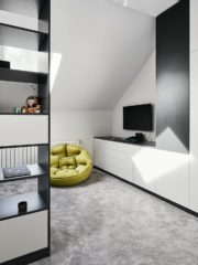 Стаята на тийнейджъра по негово желание е изчистена като форми и цветове.