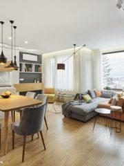 Меката мебел и столовете на фирма Белкаро са изработени по поръчка. Лампата над дивана на Nowodvorski може да се върти в кръг – много подходяща за модулния диван, от който могат да се правят различни конфигурации. Подовата настилка е висококачествен ламинат от фирма Дом и дизайн.