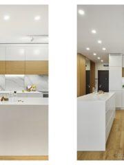 """Кухнята е от МДФ боя и фурнир с плот кориан. Шкафовете с визия на дърво разчупват монотонното бяло на корпусната мебел. Същите """"ивици"""" се появяват като вертикални или хоризонтални шкафове в дневната – тази връзка, заедно с ритмичното редуване на контрастни цветове, създава усещане за единна концепция и завършеност"""