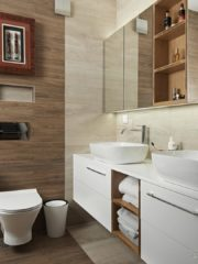 Родителската баня е продължение на спалнята като цветове и усещане